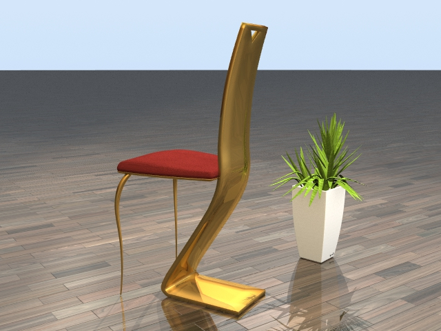 "Chair ""Louvre"" brass back"